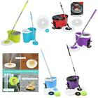 Easy Magic Floor Mop 360 Bucket 2 Heads Microfiber Spin Spinning Rotating Head #