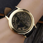 Fashion Tree Golden Case Touch Screen LED Leather Wtach Band Quartz Wrist Watch