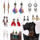 W New Bohemia Feather Beads Long Design Dream Catcher Earrings for Women Jewelry
