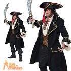 Adult Deluxe Pirate Captain Costume Buccaneer High Seas Mens Fancy Dress Outfit