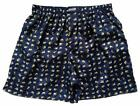 "Mens Thai Silk Boxer shorts / Underwear / 40""- 46"" / Navy & White Elephants"