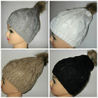 Womens Cable Knit Winter hat with sparkles and Pom Pom Black White Beige Gray
