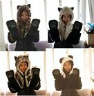 Unisex Multi-function Faux Fur Animal Hood Hat Scarf Mitten 3 in 1 Function Gift