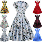 Women 40s 50s Vintage Style Dress Floral Girl Casual Cocktail Party Pageant Prom