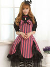 Sweet Pink and Black Striped Bows Short Sleeves Ruffles cute Lolita Dress