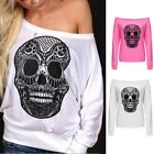 Fashion Women Sexy Off Shoulder Batwing Sleeve Skull Printed Casual Tops T-Shirt