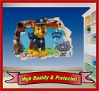 Paw Patrol Chase Hole In Wall - 3d Printed Vinyl Sticker Decal Childrens Bedroom