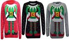 Womens Elf Body Snow Printed Design Novelty Christmas Knitted Jumper Sweater