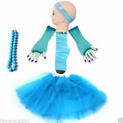 Blue 5 Set TUTU SKIRT SET gloves socks headband NECKLACE Dress up hen party B