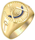 Solid Back 10k 14k Gold Masonic Past Master Ring *Free Mason Watch included*