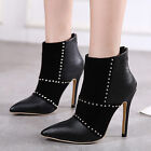 Womens Pumps High Heels Pointed Toe Ankle Boots Inside Fur Winter Shoes US4-9