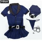 Sexy Women Police Costume Fancy Dress Cosplay Cop Outfits Halloween Costume Blue