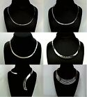 Genuine Solid .925 Sterling Silver Open Choker Necklace - Choice of Six Designs!