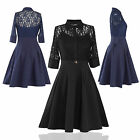 Fashion Women Vintage Lace Half Sleeve Evening Formal Cocktail Party Swing Dress