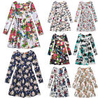 UK Vintage Kids Girls Prints Linen Cotton Skater Casual Paty Dress Age 5-13Y