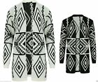 New Women Ladies Aztec Print Knitted Open Long Sleeve Jumper Top Cardigan UK8-22