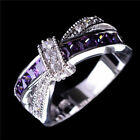 Purple Amethyst Crystal Cross Ring 10KT White Gold Filled Wedding Band Size 5-10
