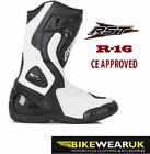 RST R-16 MOTORBIKE MOTORCYCLE SPORTS RACING BOOTS CE APPROVED ARMOUR WHITE