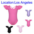 Girls Flutter Gymnastics Leotard 3-14Y Kid Cotton Ballet Dance Bodysuits Costume