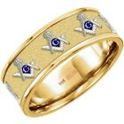 Choose Up To 8 Emblems 10k 14k Gold Masonic Blue Lodge Ring *Free Watch*