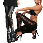 Fashion Sexy Women PU Leather Gothic Punk Leggings Pants Lace Skinny Trousers