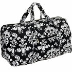 Silver Lilly Weekender Quilted Carry On Overnight Duffel Bag