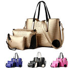3 PCS Bag Set Women Ladies Wrinkle Leather Handbag Purse Shoulder Satchel Bags