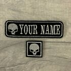 PERSONALISED 1 LINE SKULL NAME TAG EMBROIDERED PATCH BIKER BADGE SEW ON