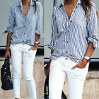 New Women Lady Casual Cotton Long Sleeve Striped Loose Shirt Blouse Tops