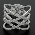 Sterling Silver Micropave Criss Cross Multi Strands CZ Knuckle Triple X Ring
