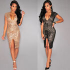 Women V Neck Sequins Bandage Bodycon Dress Party Cocktail Dress Club Dress