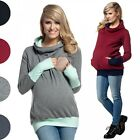 Happy Mama. Women's Nursing Hoodie Breastfeeding Contrast Detail Maternity. 330p