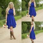 Royal Blue Short Bridesmaid Dresses Hi Low Cocktail Party Evening Gowns WD018
