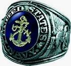 UNITED STATES NAVY SIGNET RING RHODIUM FINISH AUSTRIAN CRYSTAL ETCHED 18K GOLD