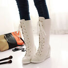 Winter Women's Wedge Heels Lace Up Riding Boots PU Leather knee High Boots US4-8