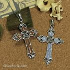 NL0445 Graceful Garden Antique Silver Tone Enamel Cross Pendant Necklace 60cm