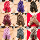 Fashion Women's Winter Warm Genuine Lambskin Leather Driving Soft Lining Gloves