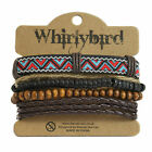 Mens Womens Stacker Leather Bracelet Surfer Wide Multi Row Layer Stack Wristband