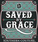 Southern Couture Womens Christian T-Shirt:Saved By Grace | Ephesians 2:8 | Black