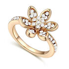 18K Gold Plated Austrian Crystal Flower Engagement Wedding Rings Jewelry Gift