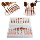 10Pcs Toothbrush Oval Make Up Brushes Set Foundation Contour Face  Makeup Brush