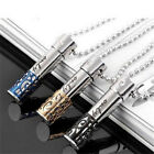 Stainless Steel Bullet Pill Ash Holder Memorial Cremation Urn Pendant Necklace f