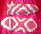 Womens Crochet Slippers Winter House Shoes Acrylic Yarn BRAND NEW Pink Blue Purp