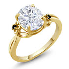 2.75Ct White Created Moissanite Black Diamond 18K Yellow Gold Plated Silver Ring