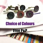 MENS PAUL SMITH PS BLACK PURPLE TAN SHIRT BUTTON SILVER PLATED CUFFLINKS + POUCH