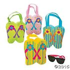 """KIDS CUTE 8"""" x 8"""" POLYESTER FLIP FLOP SANDALS THEME TOTE BAG FOR BEACH & SCHOOL"""