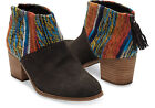 TOMS Chocolate Suede Multi Textile Leila Booties Shoes. Style #10006207
