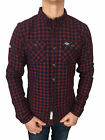 Mens Superdry GrindleSawn L/S Shirt in Navy Grindle Blue/Red Size Large