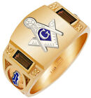 Custom Birthstone Gold Vermeil & 0.925 Sterling Silver Masonic Solid Back Ring