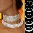 Women Silver Crystal Diamante Rhinestone Necklace Wedding Party Choker Chain Hot